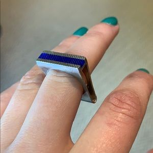 Blue and silver geometric ring